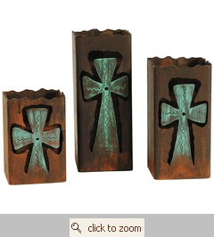 Rustic Metal Cross Candle Holders