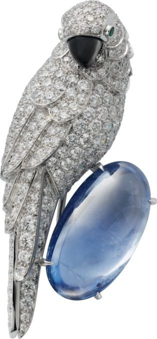 Cartier Fauna and Flora brooch Platinum, white gold, sapphire, mother-of-pearl, ...