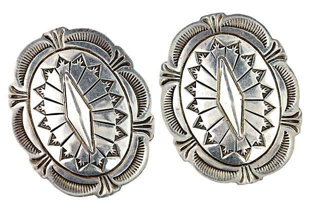 Sterling silver Navajo concho pierced post earrings. Total ...