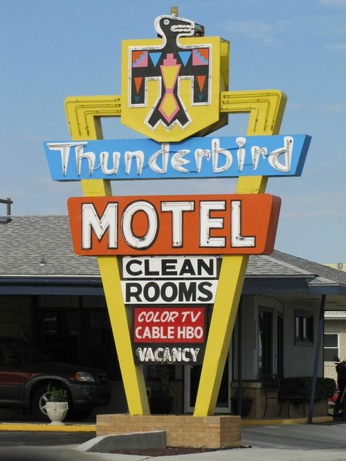 Thunderbird Motel - Dodge City, Kansas USA - May 12, 2012Credit: jimsawthat (Jim Good) on Flickr via the VINTAGE MOTEL SIGNS ONLY! group pool.