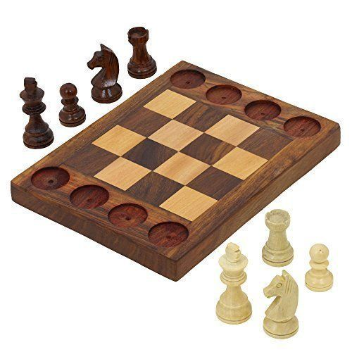 Handmade Wooden Beginners Chess Set - Cross Between Chess and Tic Tac Toe - Teaches Basic Chess Moves -- Read more reviews of the product by visiting the link on the image.