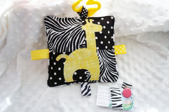 GIRAFFE baby toy crinkle toy zebra print cotton by Sassydoodlebaby, $9.99
