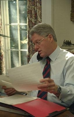 President Clinton hard at work. Photograph from the William J. Clinton Presidential Library.