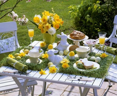 Grass table display for easter
