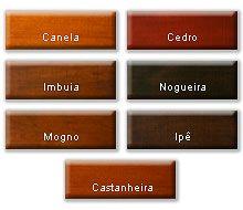Canela, Cedro, Imbuia, Nogueira, Mogno e Ipê