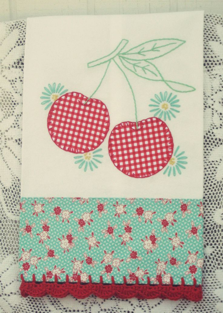 sweet gingham cherries flour sack tea towel no. 2 - Thumbnail 1