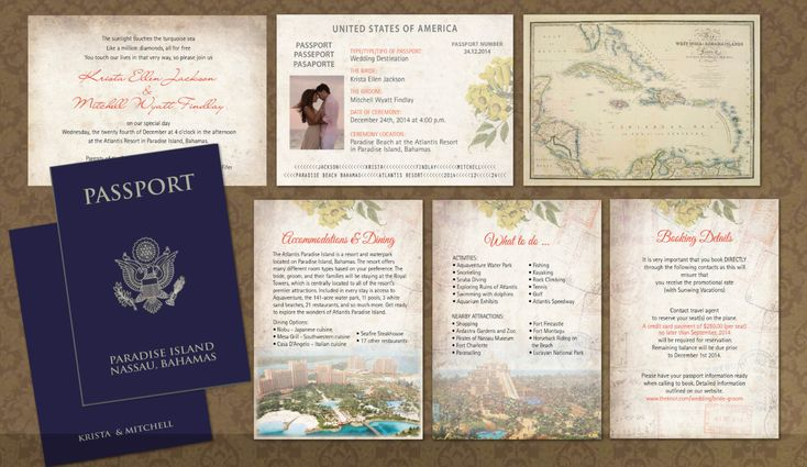 Passport Wedding Invitation booklets for your destination wedding in the Caribbean, Bahamas, Jamaica, Mexico or any other tropical hot beach