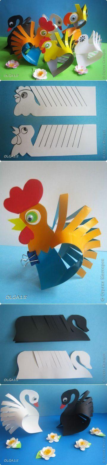 Bricolage enfant / activité manuelle : poule en découpage: