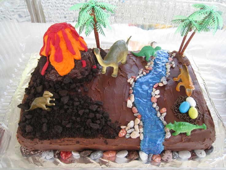 Dinosaur Cake!-rice crispies for rocks along stream. oreo crumbles. cupcake or bought volcano cake w melted candies.