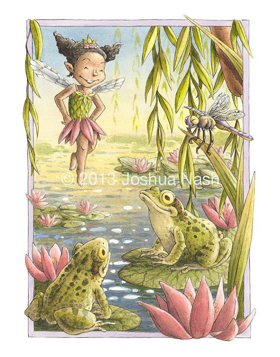 The Willow Pond Fairy, native to California wetlands, is most active in the warm summer months, when the fields are electric with the humming and clicking of bugs. She'll be seen buzzing through cattails and reeds and hopping from pond to pond to the delight of frogs and other puddle dwellers.  Willow Pond Fairy 11 x 14 Open Edition Print by NashIllustrations, $45.00