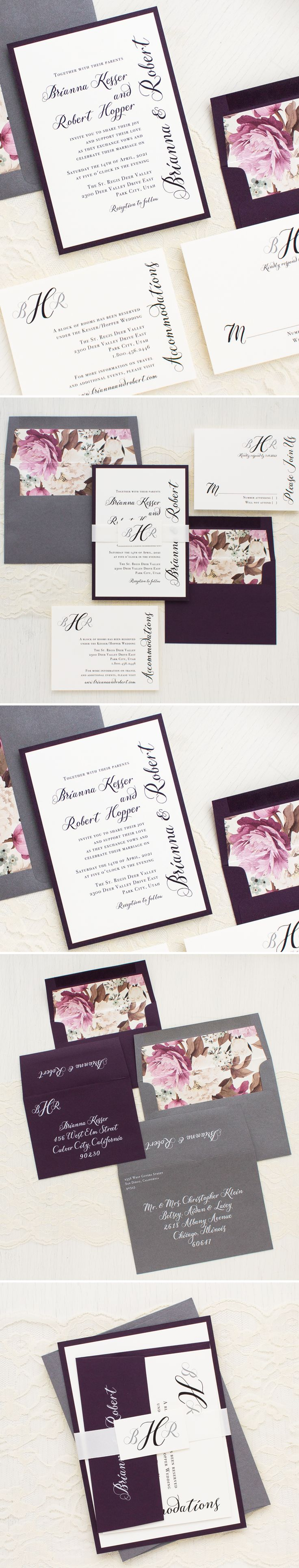 Elegant plum and ivory invites with a stylish monogram belly band tag and romantic floral envelope liners. Simple Calligraphy wedding invitations are designed for a modern affair. Sleek and classy, they'll set an elegant tone for your sophisticated nuptials.