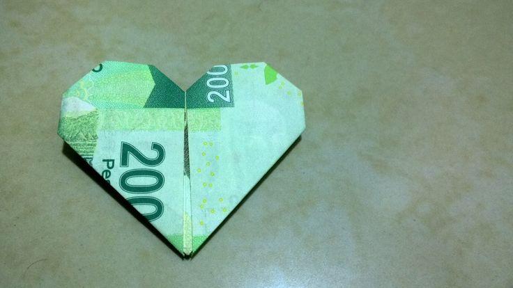 Billete en forma de corazón (Origami, Regalo)