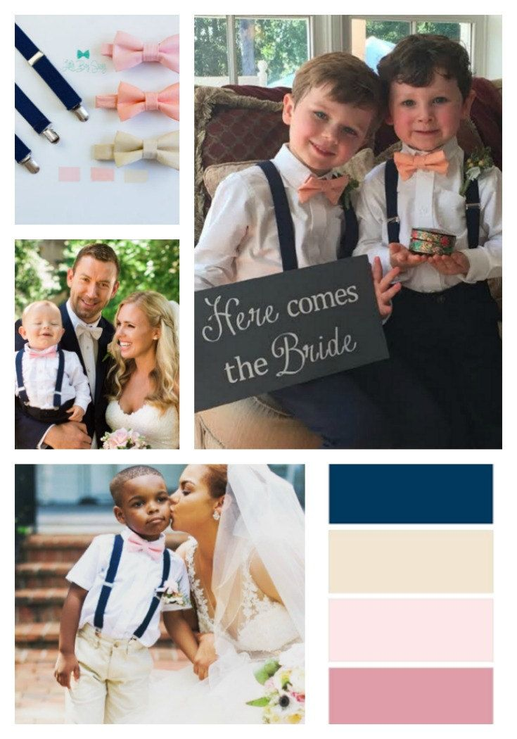 Blush and navy inspired #bowtie and suspenders.   Boys Bow Tie And Suspenders, Navy Wedding Suspenders, Ring Bearer Outfit, Kids And Adult Bow Tie Suspenders, Baby Boy Bow Tie, Wedding Gift by LittleBoySwag on Etsy