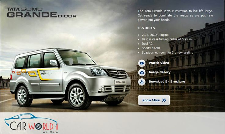 #Carworld1 - The Tata Grande is your invitation to live life large. Get ready to dominate the roads as we put raw power into your hands. features  2.2 L DICOR Engine Best in class turning radius of 5.25 m Dual AC Sporty decals Spacious leg room for 3rd row seating Carworld1.com