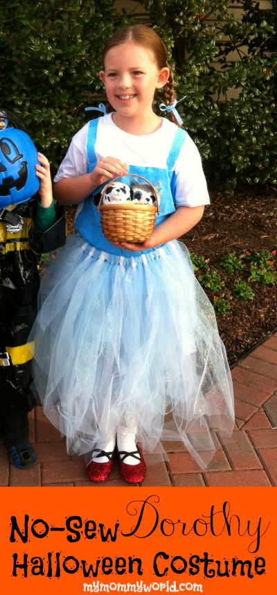 No-Sew Dorothy Halloween Costume - http://mymommyworld.com/no-sew-dorothy-halloween-costume/