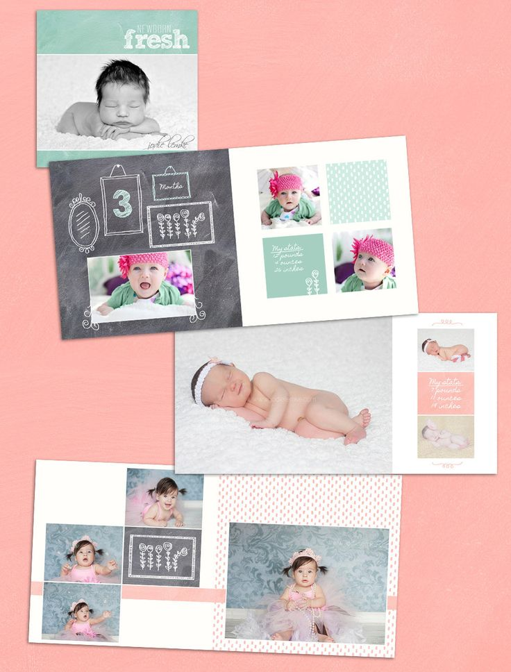 Baby Album Template: Watch Me Grow - First Year Book Template for Photographers 10x10. $25.00, via Etsy.