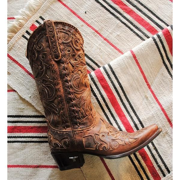 1828540ebbf Lane Boots Women's Robin Dark Brown Floral Overlay Snip Toe Western ...