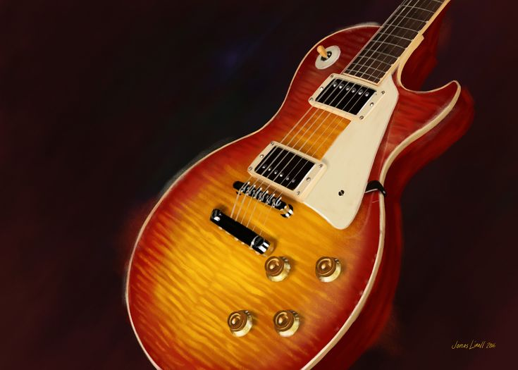 Gibson '59 Les Paul Cherry Washed. Painting by Jonas Linell 2016.
