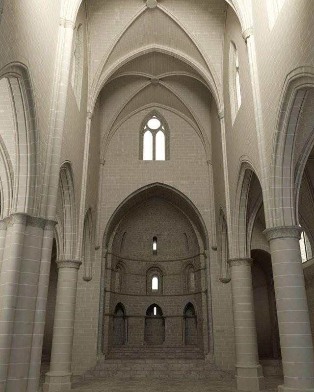 Recreación 3D de la iglesia de San Pedro de la Rua con la altura original de la nave central.