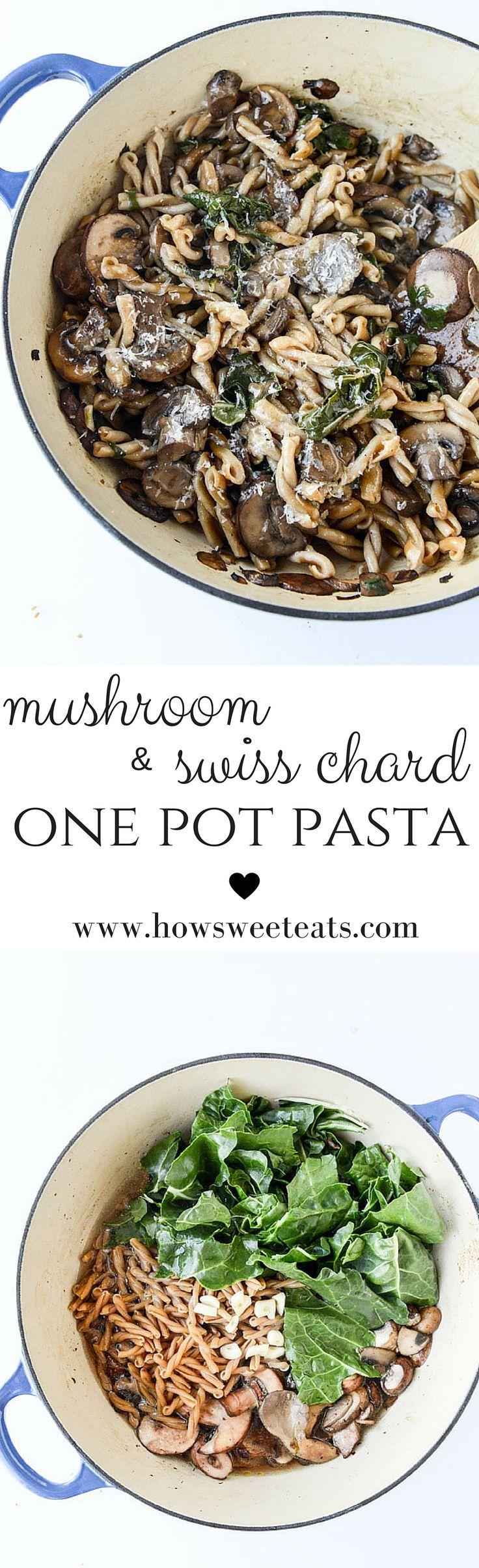 mushroom and swiss chard one pot pasta I http://howsweeteats.com
