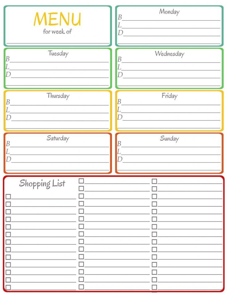 meal planner with grocery list