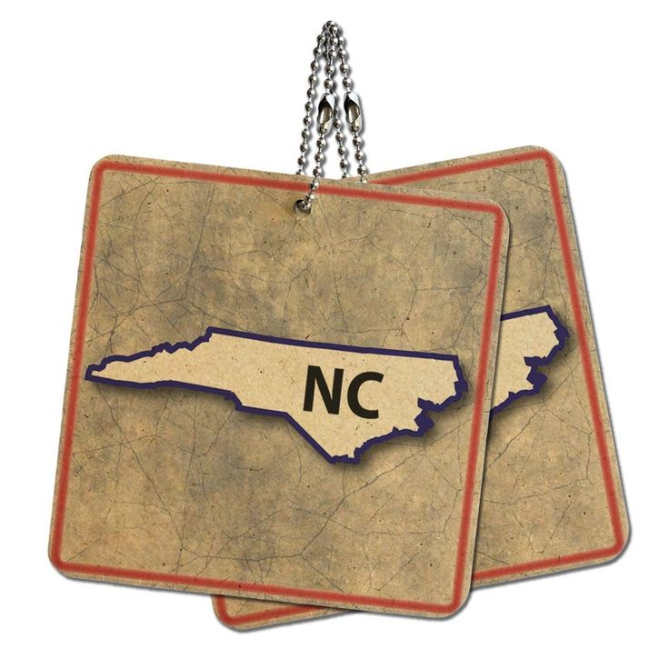 North Carolina NC State Outline on Faded Blue Wood MDF 4' x 4' Mini Signs Gift Tags *** Click on the image for additional details.