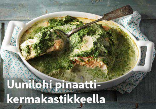 Uunilohi pinaattikermakastikkeella Resepti: Valio #kauppahalli24 #ruoka #resepti #uunilohi
