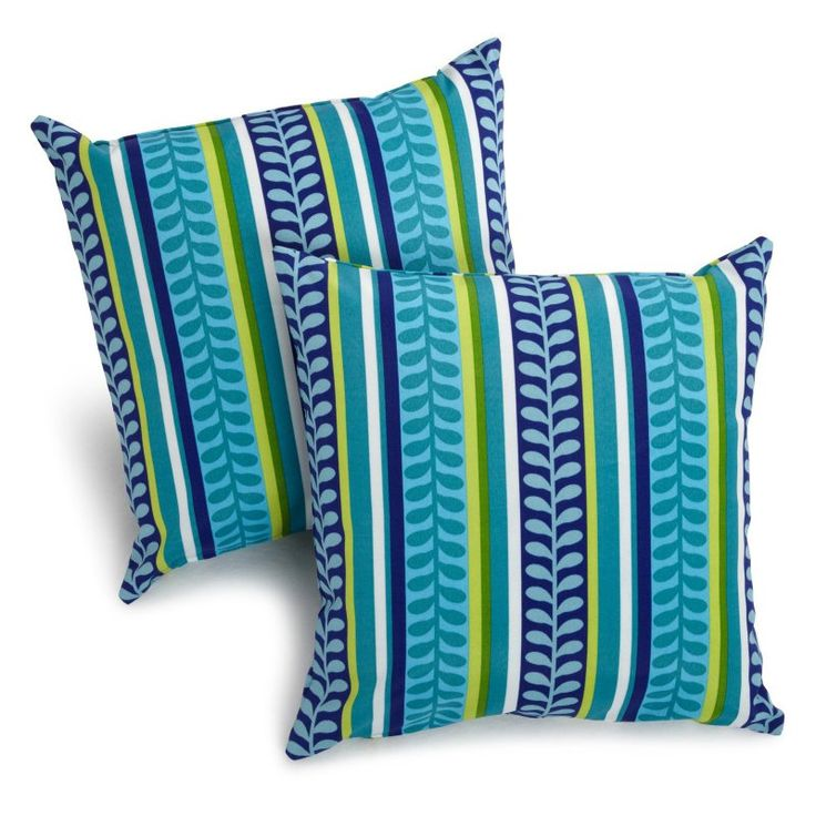 Blazing Needles 18 x 18 in. Patterned Outdoor Throw Pillows - Set of 2 Pike Azure - 9910-S-2-REO-35