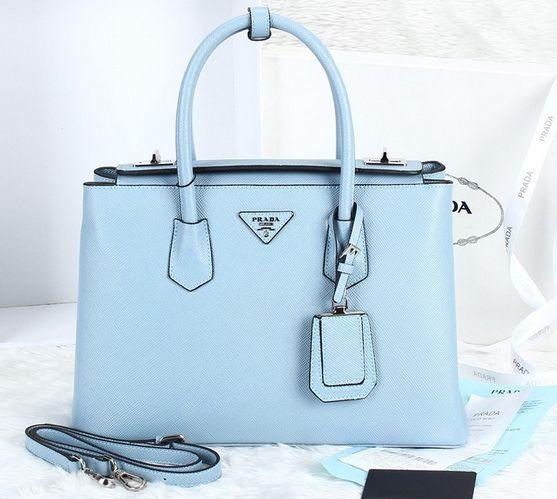 2014 Cheap Prada Twin Saffiano Cuir tote pale blue,Prada bags 2014 on sale