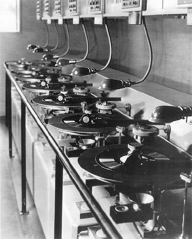 Old school one-at-a-time lateral record cutters                                                                                                                                                                                 More