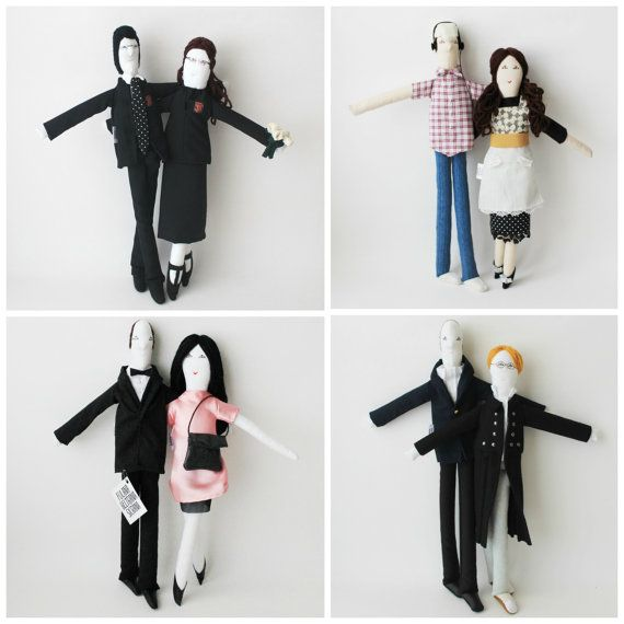 Portrait couple dolls personalized cloth dolls 16 inches