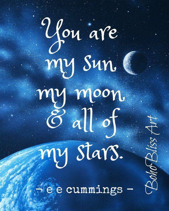 Cummings  Nursery Print  Digital Download  Moon Print  Sun Print  Stars Print  Kids Prints My Sun  My Moon  My Stars  E.E