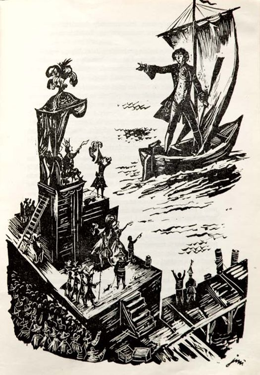 Illus. by Jan Marcin Szancer for Gulliver's Travels, 1958  From the collection of Hipopotam