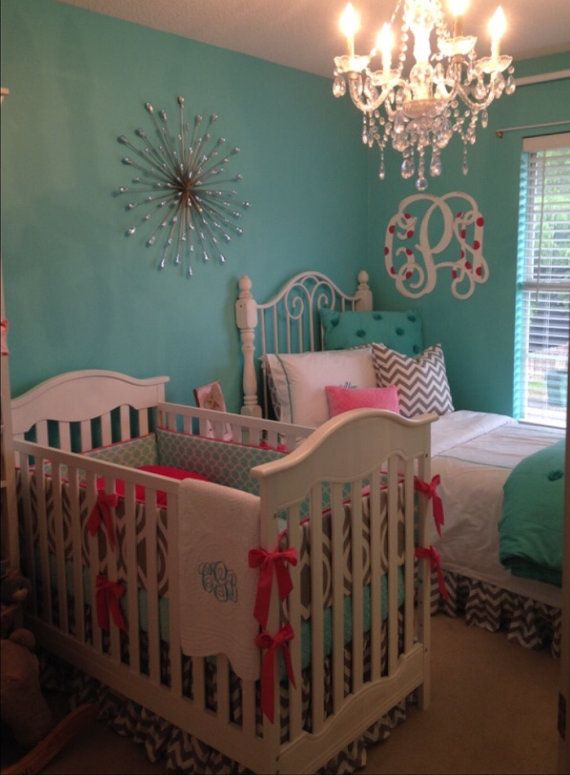Baby Girl Crib Bedding Set Aqua Gray and by butterbeansboutique