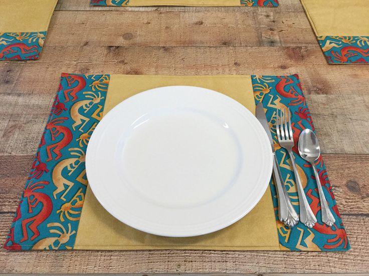 Southwest Placemats, Kokopelli Fabric Placemats, Kachina Table Setting, Southwest Dining, Rustic Home Decor, Southwestern Decor Set of 4 by DarkRidgeCreations on Etsy https://www.etsy.com/listing/451530440/southwest-placemats-kokopelli-fabric
