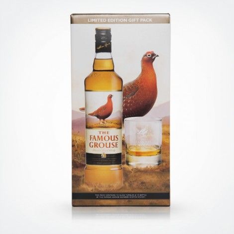 India Glspck 2012 70cl 40% 70cl bottle of The Famous Grouse Whisky with a The Famous Grouse tumbler.