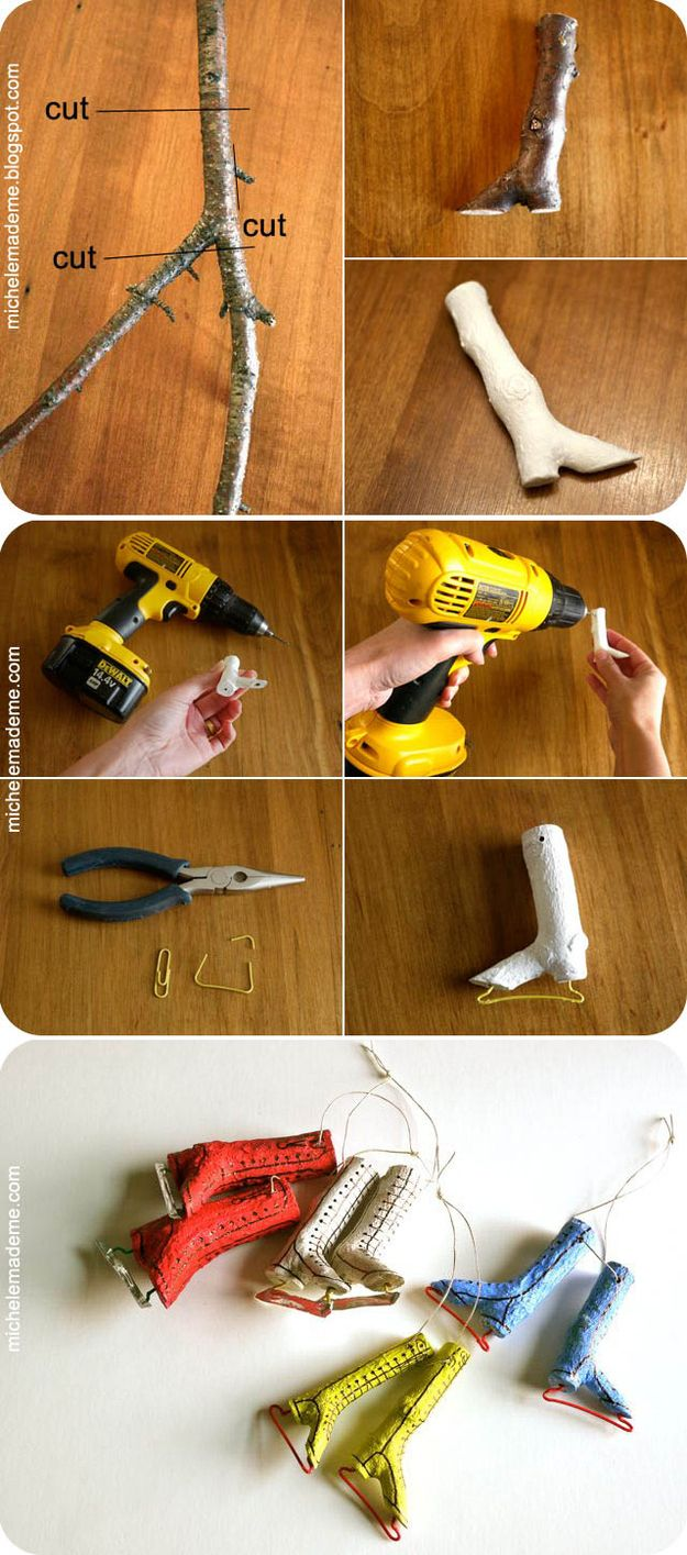Ice Skate Ornaments Made from Twigs | 51 Hopelessly Adorable DIY Christmas Decorations