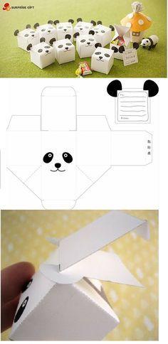 DIY Panda treat boxes Tutorial  free printable #Gift Wrap #Packaging +++ MAnualidad cajas envoltorios de regalo recuerdos en fiestas con cara de Oso Panda Explicaciones y plantillas