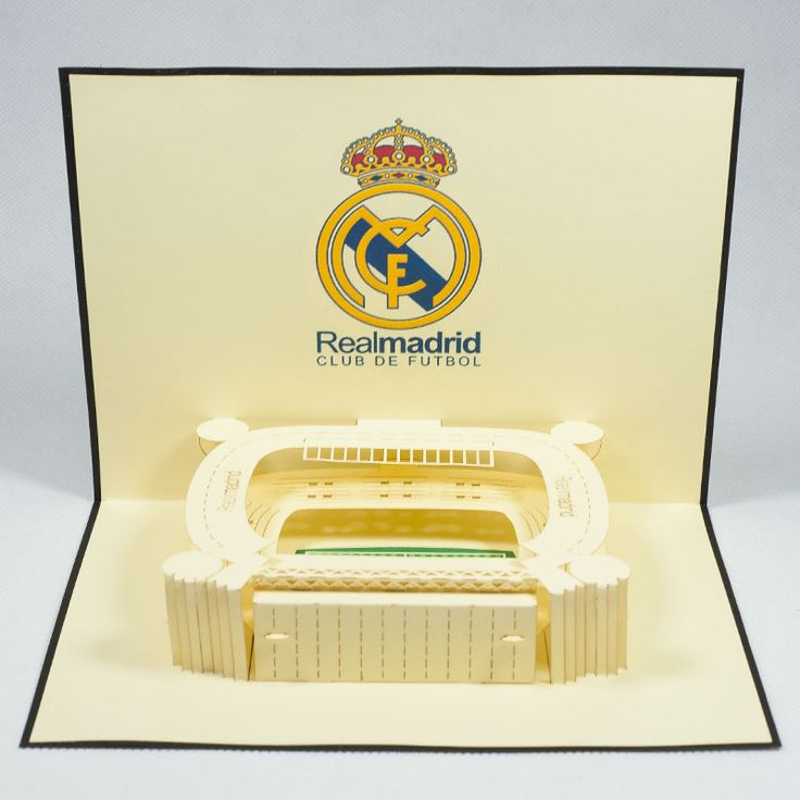 Pop up station card/ST009Real Madrid/Pop up handmade station card for FC/Kirigami pop card/ Paper cutting pop up card for Sport
