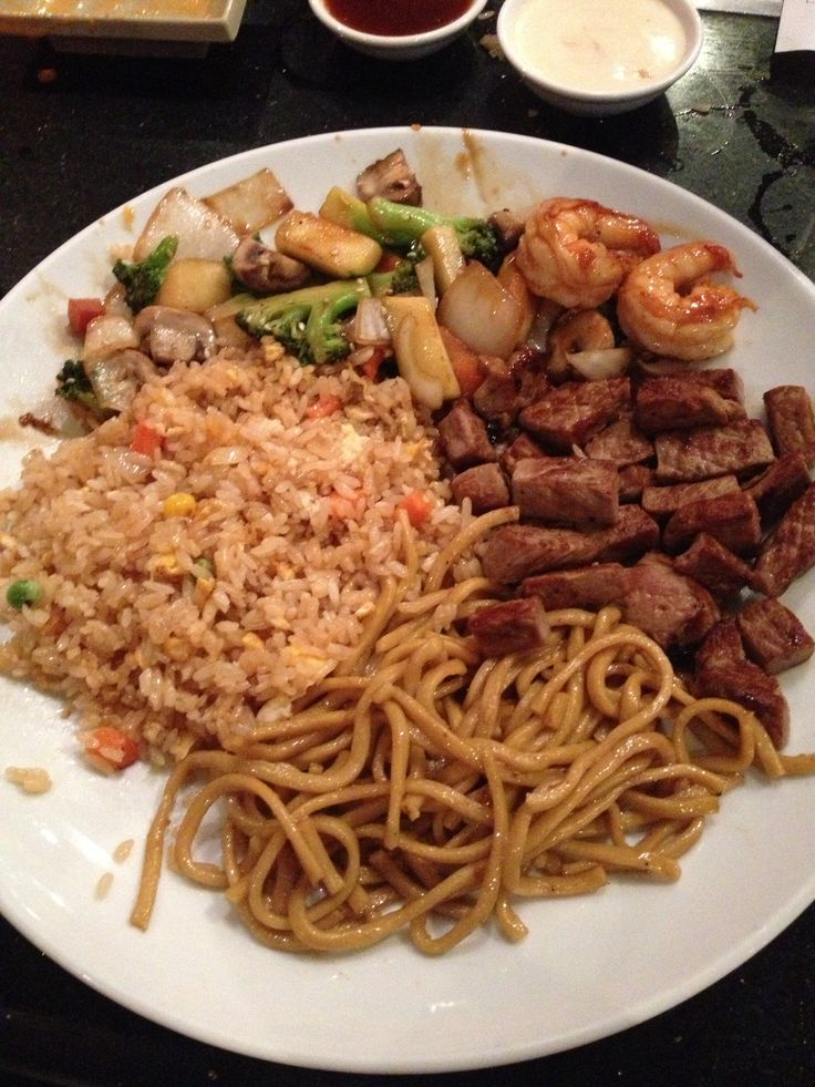 Hibachi steak from Sakura. Comes with fried rice, noodles, vegetables, and shrimp appetizer
