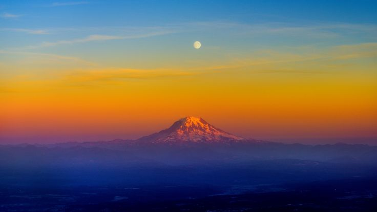 Mount Rainer and Moon by Tom Stoncel on 500px