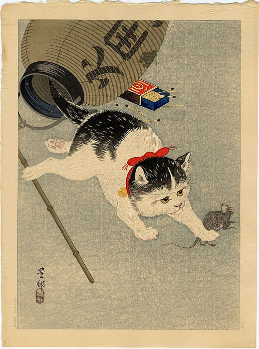 Cat Catching a Mouse by OHARA Koson, 1930, Japan