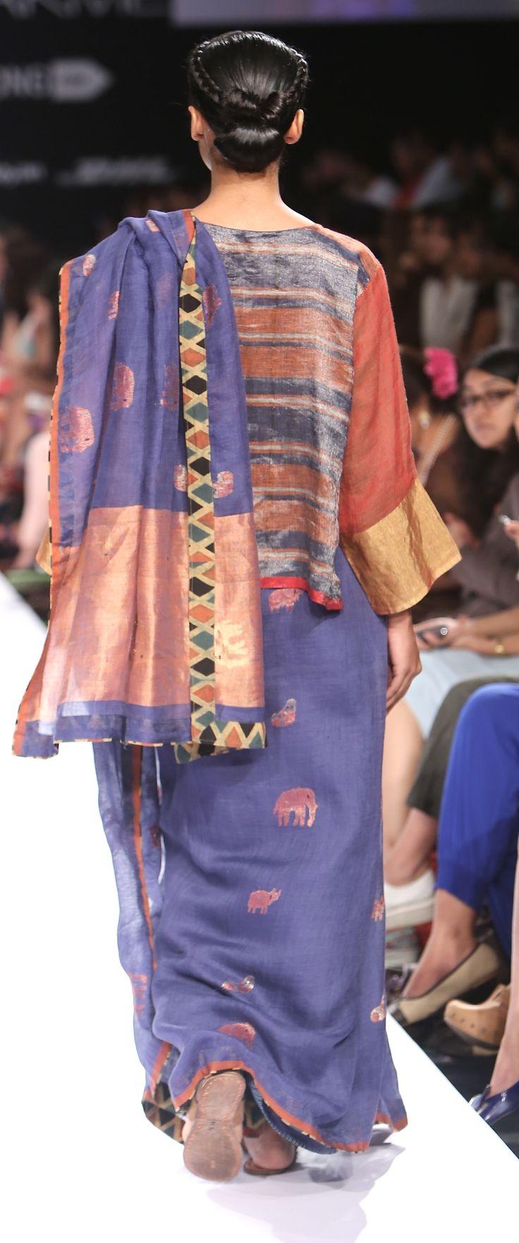 animal motif linen Jamdani linen sari