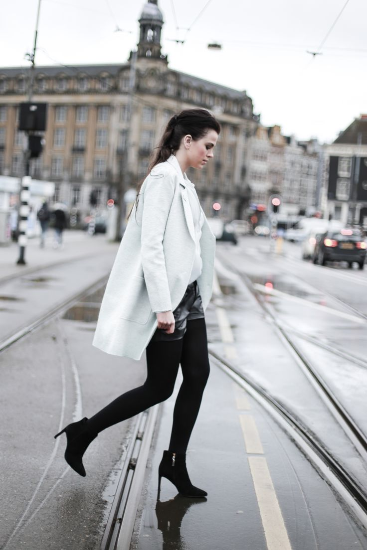 Mint green coat and blouse plus leather shorts - Daphisticated