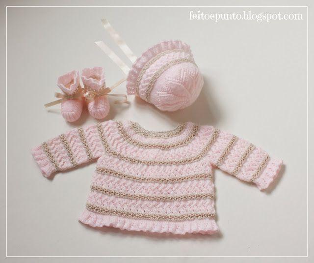 Conjunto de bebé: jubón, capota y patucos rosa