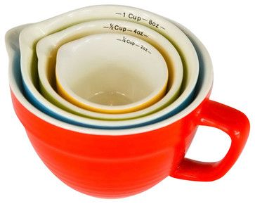 Stoneware Measuring Cups, Set of 4 - rustic - Cookware - The City Farm
