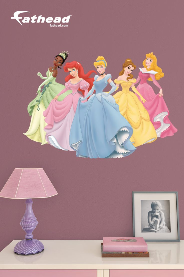 Disney Decor, Disney Princess | DIY wall decals are awesome alternatives to hand-painted wall murals and stencils which can be expensive and labor intensive. No more putting holes in your walls! Our removable, peel and stick wall decals are made of tough high-grade vinyl that's tear and fade resistant. SHOP http://www.fathead.com/disney/princesses/disney-princess-collection-fathead-junior/ | Girl Bedroom Home Decor On A Budget | Kids DIY Bedroom Decor | Fathead Wall Decals