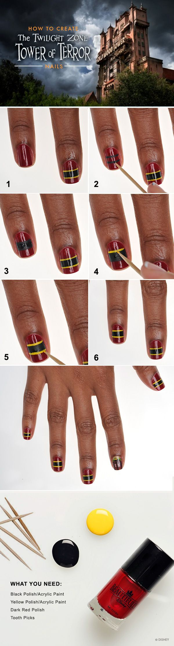 #disneyside #disney Hollywood Tower Hotel Inspired #nailart : Find More  Inspiration At House