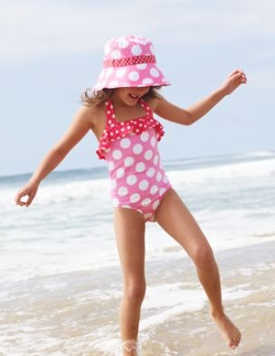 polka dot swimsuit . . look out Kinsley, Gramma's got plans . . .