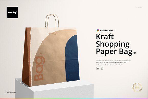 Download Kraft Shopping Paper Bag 4 Mockup Custom Printed Napkins Print On Paper Bags Bag Mockup